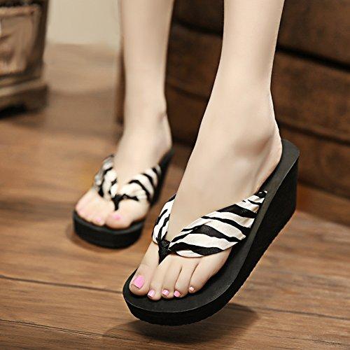 Fereshte Kvinna Flickor Bohemisk Satin Blommig Kil Sandaler Strand Badskor Flip Flops 1446-zebra