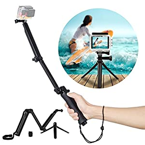 Allstrying Waterproof 3-way Grip Telescopic Pole Tripod Mount Handheld Arm Selfie Stick Tripod for GoPro Hero ,SJCAM ,Xiao Yi Action Camera (Cam Tripod)