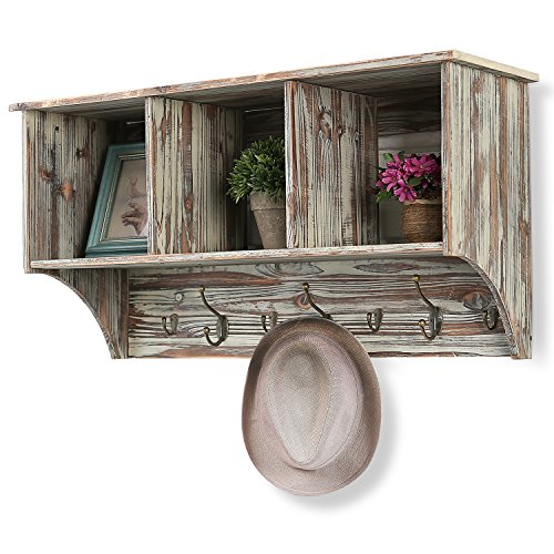 Antique Whitewash Wood - 3 Compartment Rustic Wall Mounted Wood Entryway Shelf Organizer Rack with Coat & Key Hook, Brown