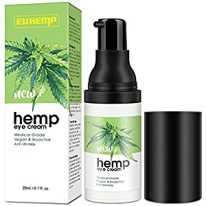 INTENSIVE Hemp Eye Cream Moisturizer, Anti-aging Eye Gel for Wrinkles, Bags under Eyes, Crow's Feet, Dark Circles…