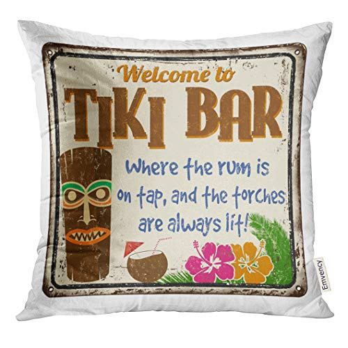 Emvency Throw Pillow Cover Aged Welcome to Tiki Bar Vintage Rusty Metal Sign on White Alcohol Decorative Pillow Case Home Decor Square 18x18 Inches Pillowcase