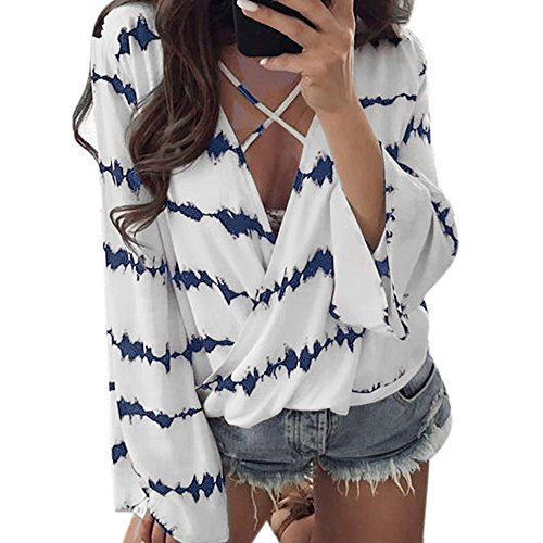 Wobuoke Women Loose V Neck Bandage Long Sleeve Shirt Stripe Tops Overlapping Chiffon Casual Blouse Blue -