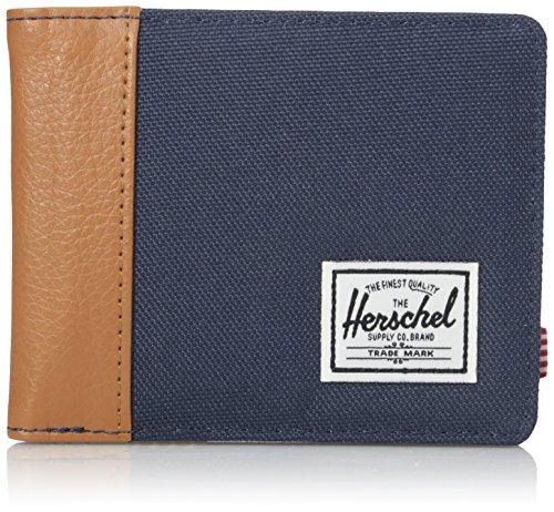 Herschel Supply Co. Men's Edward RFID Blocking Bi-Fold Wallet, Navy/Tan Synthetic Leather