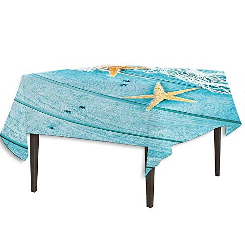 - Starfish Decor Washable Tablecloth Rustic Wood Boards Fishing Net and Ocean Animals Nautical Print Desktop Protection pad W70 x L70 Inch Turquoise White Orange