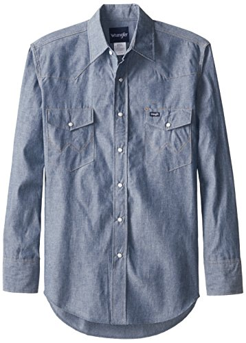 Wrangler Men's Authentic Cowboy Cut Work Western Long-Sleeve Firm Finish Shirt, Chambray Blue, XX-Large (Man Spring)