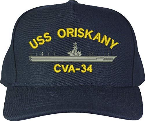 United States Navy USS Oriskany CVA-34 Aircraft Carrier Ship Emblem Patch Hat Navy Blue Baseball Cap
