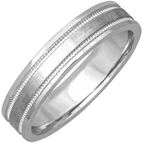 14K White Gold Top Flat Men's Comfort Fit Wedding Band (4mm) Size-17c1