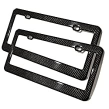 Set of Two 100% Real Glossy Carbon Fiber License Plate Frame Holder Universal Fits BMW Mercedes Lexus Audi Tesla Cadillac Infiniti Toyota Honda Acura Scion Volkswagen Dodge Ford and more