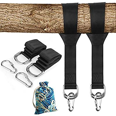 Tree Swing Straps Hanging Kit Holds 2000lbs, Easy & Fast to Installation Swing Hanger, 2 Tree Straps(5 FT) and 2 Safety Lock Carabiner Hooks,Perfect for Swings,Hammocks and More!: Garden & Outdoor