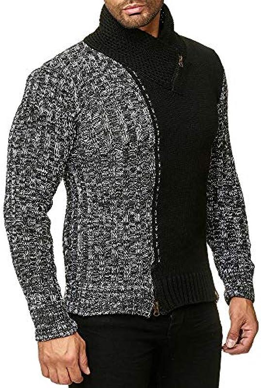 Tazzio Styler męski sweter z grubą dzianiną z kołnierzem na zamek błyskawiczny, melanż, wzÓr 16478: Odzież