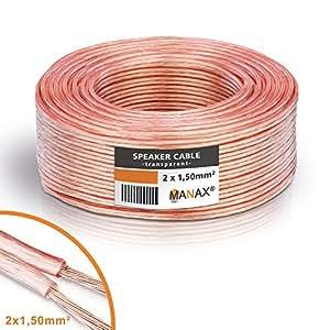 MANAX - Bobina de cable conductor doble para altavoces (50 m, 2 x 1,5 mm²), aislante transparente