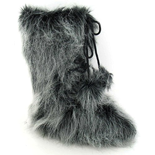 Boots Yeti Pom Black Ladies With Flat Womens Reflex Poms afIqzz