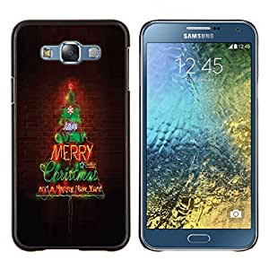Stuss Case / Funda Carcasa protectora - Feliz Navidad Luces del árbol de la pared de ladrillo - Samsung Galaxy E7 E700