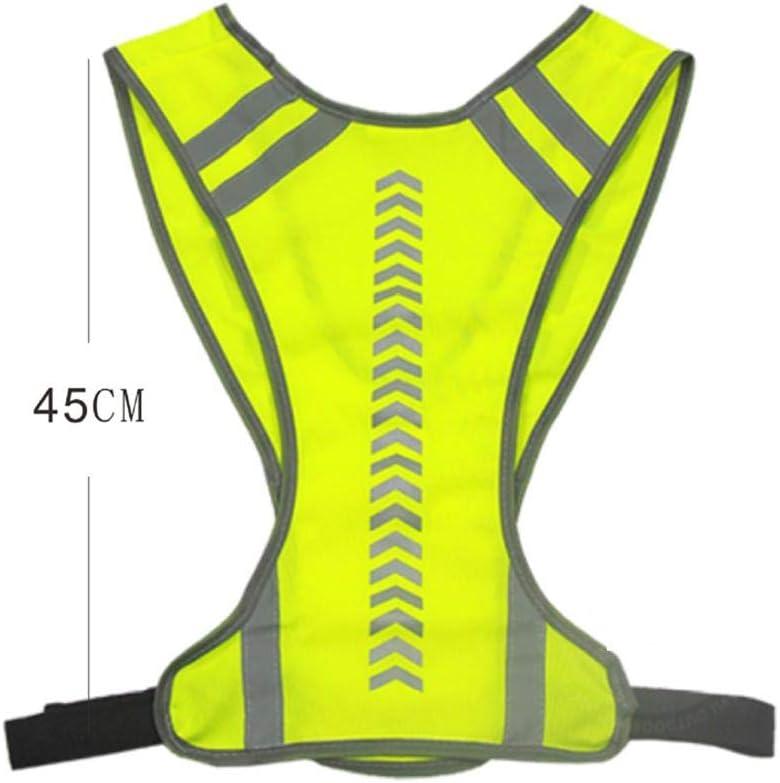 Makluce Chaleco Reflectante Ultrafino Transpirable Amarillo Correr Al Aire Libre Montar A Caballo Indicador Orientado A Flecha Chaleco