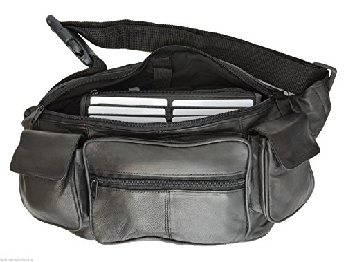 Large Black Genuine Lambskin Leather Fanny Pack Waist Bag with Cell Phone Pouch by Private Label (Image #3)