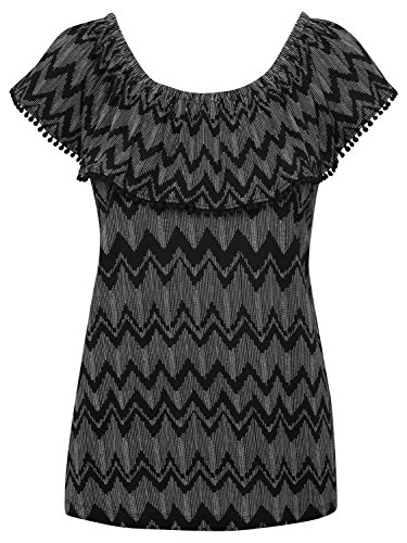 Neckline Layer Black M Chevron Lace Top Sleeve Ladies Frill