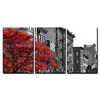 3 Piece Canvas Wall Art - Red Fall Tree in Black and White NYC Street Scene - Modern Home Art Stretched and Framed Ready to Hang - 16