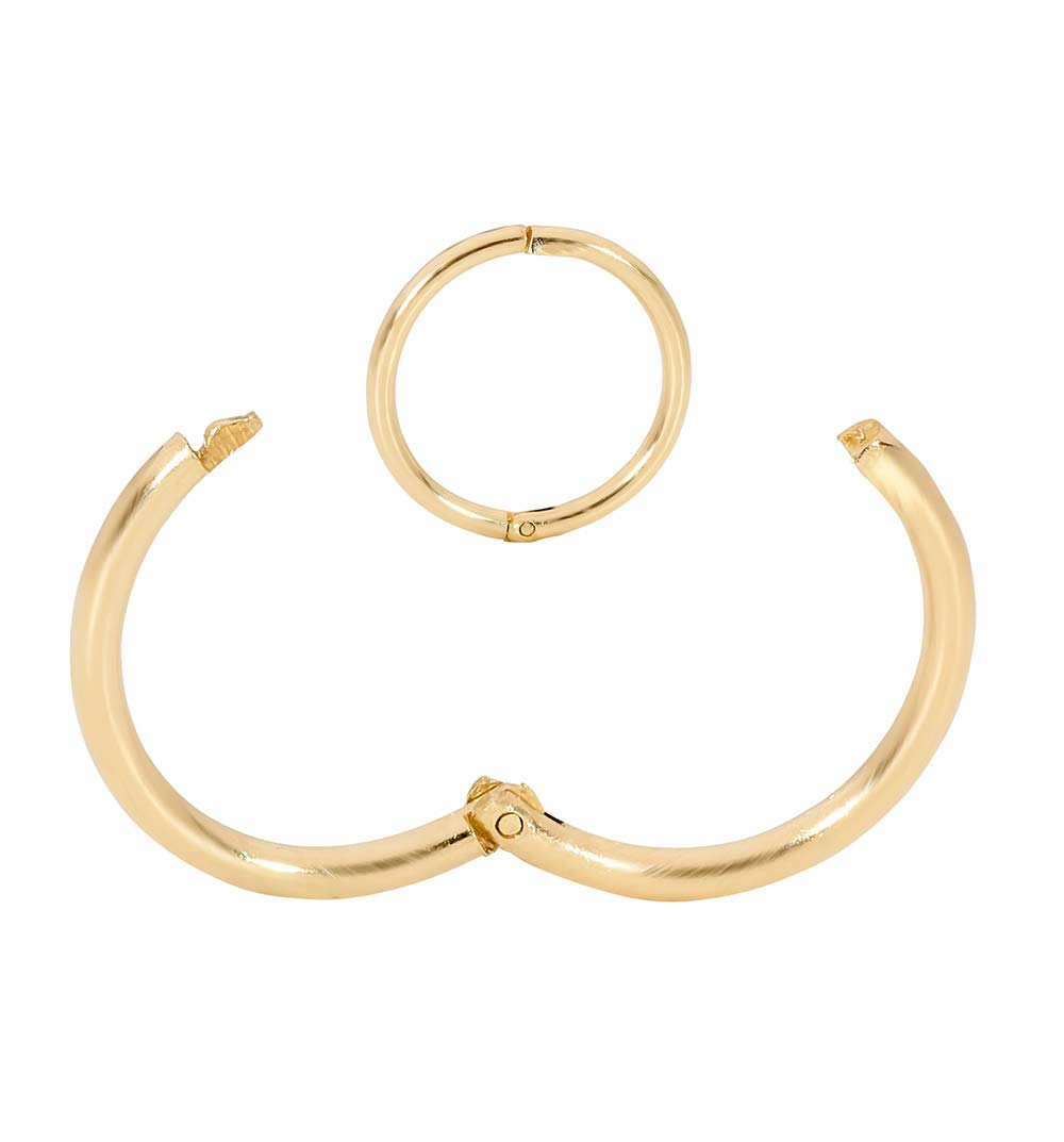 365 Sleepers 1 Piece 9ct Yellow Gold 18G Hinged Hoop Nose Lip Earring Made in Australia 8mm / 10mm - Sold Individually