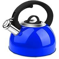 AIDEA Tea Kettle, 2 Quart Whistling Stainless Steel Tea Kettle for Stovetop (Blue)…