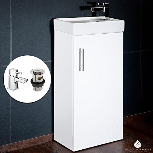 Bathroom Vanity Unit Cabinet White Plus HERO Mixer Basin Sink Tap and Clicker Waste 400mm x 220mm CUBE CHI003&HERO CASA