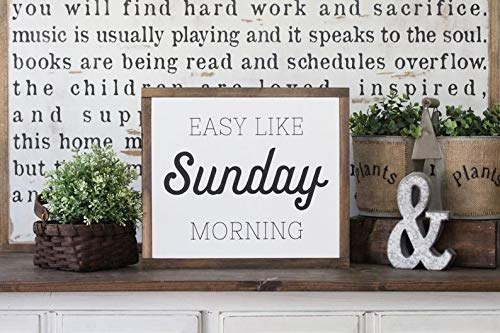 DoreenAbe Personalized Framed Wood Sign, Wood Sign, Wood Wall Art, Easy Like Sunday Morning, Inspirational Sign, Framed Wall Art, Hand Painted Wood Sign, Rustic Wood Sign ()