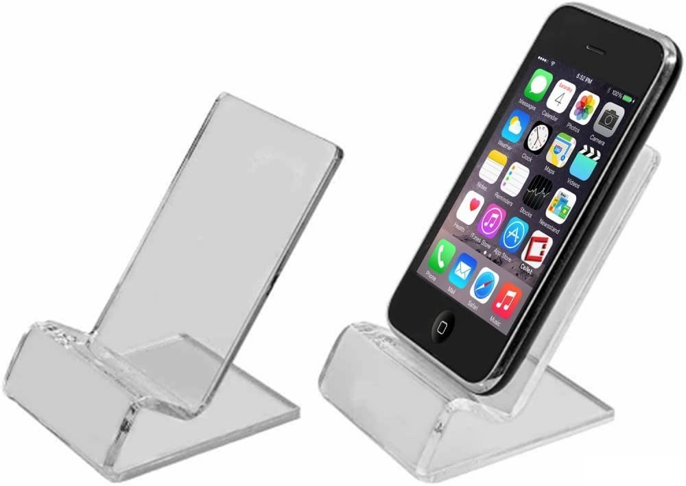 Importer520 Universal Clear Plastic Cell Phone Mini Stand Holder Cradle for Samsung Galaxy Note 5 4 Note 3 Note 2 Galaxy S7 S6 S5 S4 Apple iPhone 4 4S 5 5S 5C 6 6s 7 4.7inch 6 6s 7 Plus 5.5inch