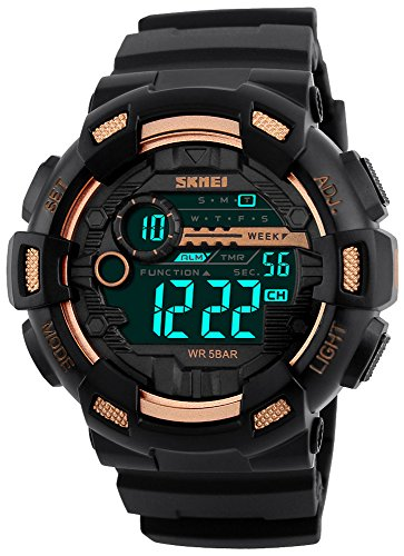 Fanmis Mens Digital LED Sports Watch Military Multifunction Dual Time Alarm Countdown Stopwatch 12H/24H Time Backlight 164FT 50M Water Resistant Calendar Month Date Day Watch (Mens Calendar Day Date Watch)