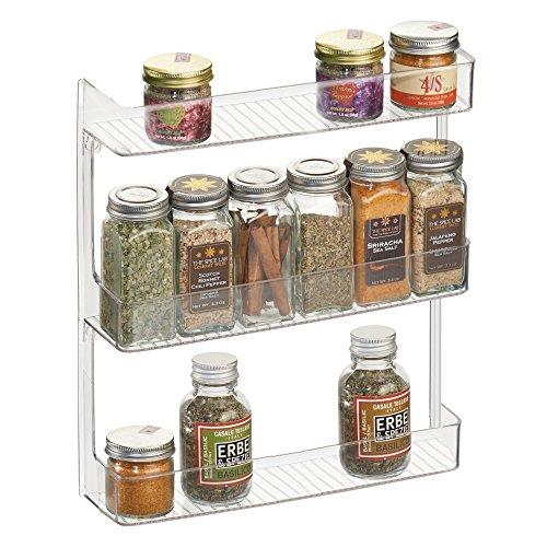 mDesign Wall Mount Kitchen Spice Organizer Rack for Herbs, Salt, Pepper, Cinnamon, Ginger, Garlic - 3-Tier, (Cinnamon Wall Mount Cabinet)