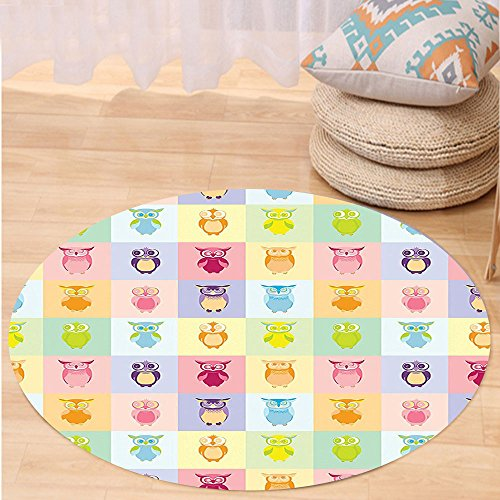 VROSELV Custom carpetHome Decor Cartoon Cute Owls Multicolor Fun Animal Love Childrens Art Nursery Play Birds Print Bedroom Living Room Dorm Decor Purple Yellow Pink Round 79 inches by VROSELV