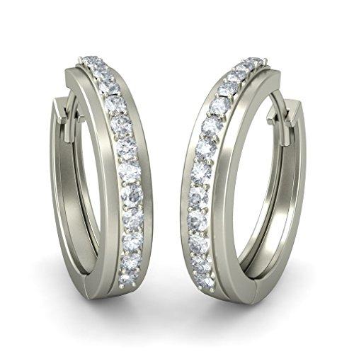 14K Or blanc 0,52CT TW Round-cut-diamond (IJ   SI) Boucles d'oreilles créoles