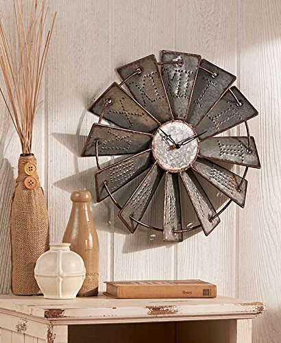 Metal Windmill Wall Clock (Rustic Country Candle Wrap)