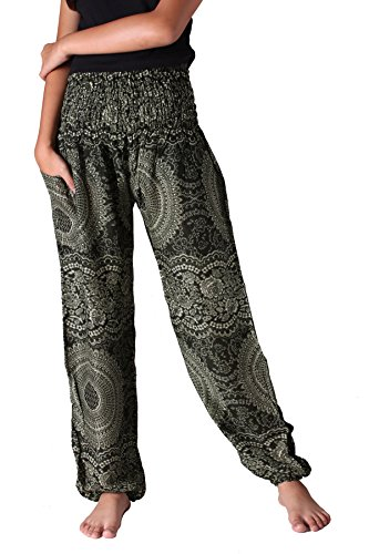 Hippie Green (Bangkokpants Plus Size Harem Pants Boho Clothing Hippie Peacock Size US 14-22 (Blossom Green))