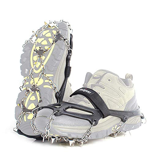 Vdealen Crampons for Hiking Boots, 19 Teeth Stainless Steel Anti-Slip Traction Ice Cleats, Slip-Resistant Snow Ice Spikes,Crampons,Ice Snow Grips for Walking on Ice Snow (Black, L(41-44))