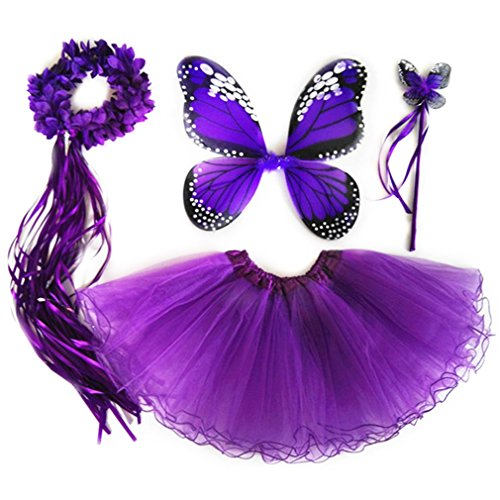 4 PC Girls Fairy Princess Costume Set with Wings, Tutu, Wand & Halo (Deep Purple)