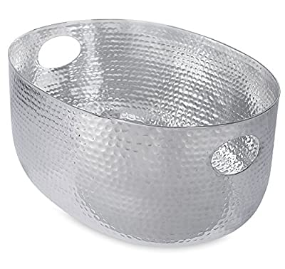 BirdRock Home Hammered Stainless Steel Beverage Tub | Oval | Party Drink Cooler Holder | Cutout Handles | Outdoor or Indoor Use