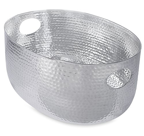 BirdRock Home Hammered Stainless Steel Beverage Tub | Oval | Party Drink Cooler Holder | Cutout Handles | Outdoor Indoor Use by BirdRock Home