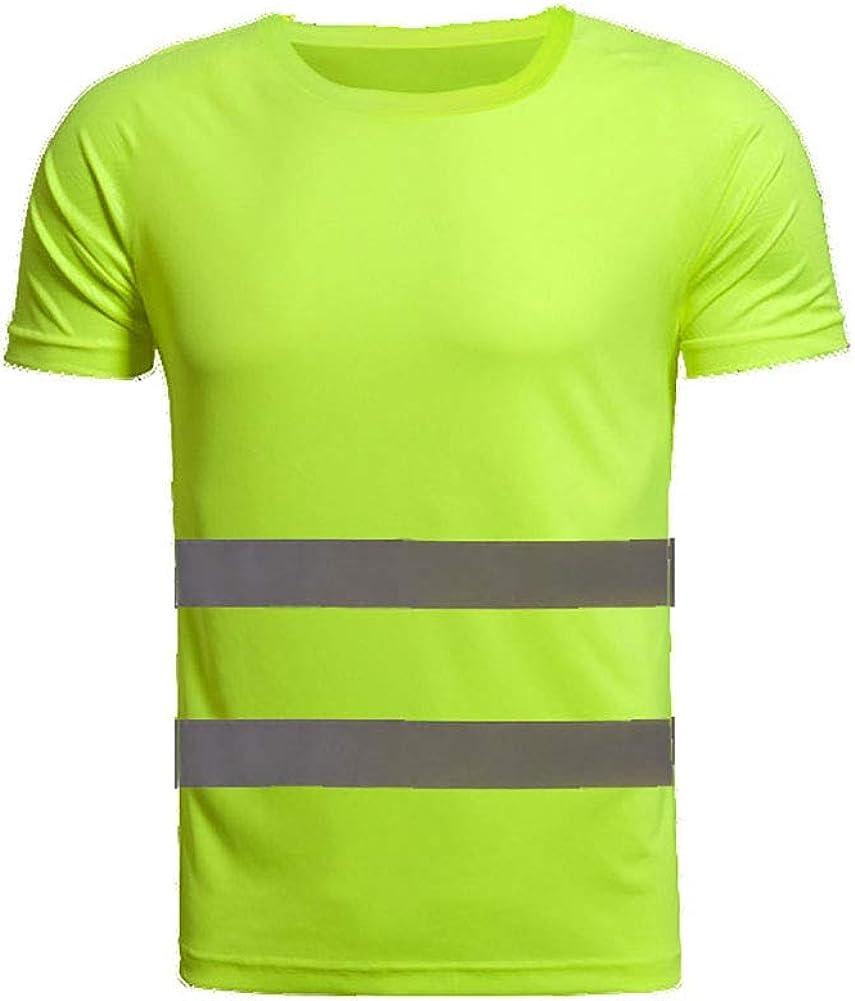 Inicio T-Shirt R/éfl/échissant de S/écurit/é /à Manches Courtes T/és Haute Visibilit/é Tops Tops /Équipement S/écuris/é pour Le Chantier
