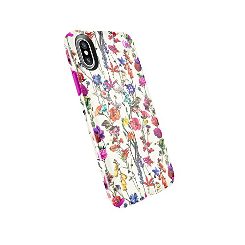 Speck Products Compatible Phone Case for Apple iPhone Xs and iPhone X, Presidio Inked Case, Whiteflowers/Lipstick Pink from Speck