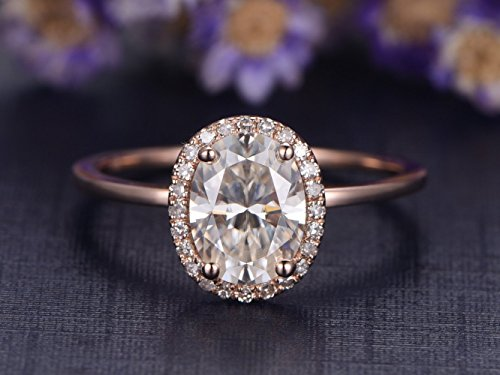 anite Engagement Ring SI I-J Diamond Wedding Band 14k Rose Gold Promise Ring,Reco Design Unique Plain Band ()