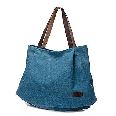 Fancybag - Women Large School Bag Tote Bag Shopping Bag Canvas Bag Pure Color Handbag