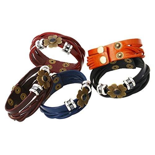 (Gnzoe Jewelry, Men/Womens Leather Bracelet Bead Bangle Cuff Watch Band,Orange)