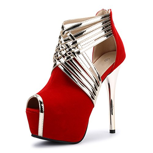Fereshte Womens Sexy Fashion Peep-toe Stripe Sandals Super High Heels Red EU Size 39 - US B(M) 8 (Womens Pumps Sexy)