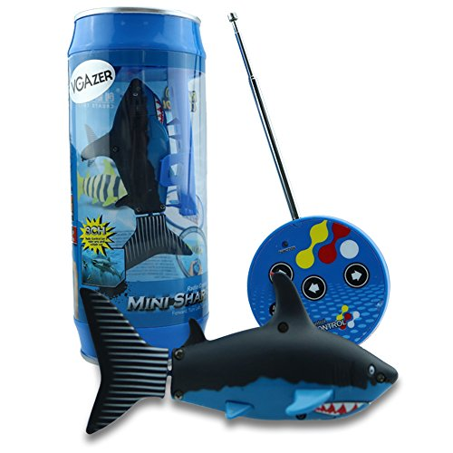 (VGAzer Mini Radio Remote Control Rechargeable Funny Cute Shark Swim in Water RC Fish Electronic Toy for Kids (Black))