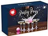 Party Pong Ultimate Upmarket Beer Pong Drinking Game with 24 Plastic Champagne and Beer Glasses and 4 Ping Pong Balls