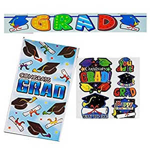 Graduation Decorations Mega Value Pack of Party Supplies- Grad Cutouts, Door Cover, and Large Banner from Paper and Presents