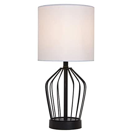 SOTTAE Mini Hollowed Base Black Bedroom Livingroom Bedside Table Lamp,  Table Lamps with White Fabric Shade
