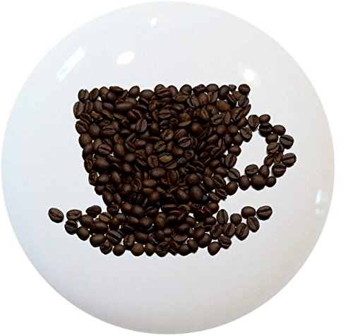 Carolina Tools and Decor 2395 Beans Coffee Cup Ceramic Cabinet Drawer Knob