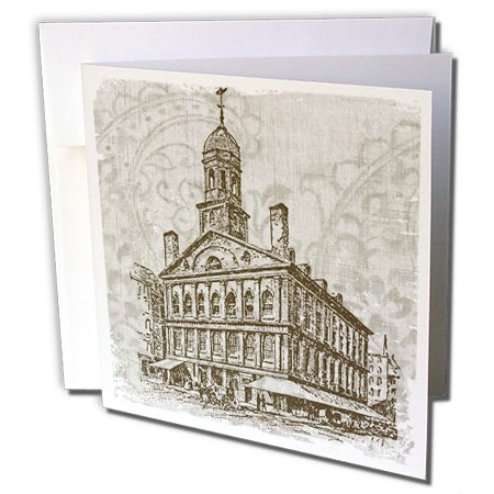 3dRose PS Vintage - Vintage Art of Building - Scenery - 12 Greeting Cards with envelopes (gc_108656_2)