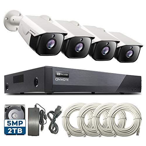 ONWOTE Audio 5MP 8CH PoE Security Camera System, 8 Channel 5MP HD H.265 Onvif NVR 2TB HDD, 4 Outdoor 5MP 2592x1944P HD IP Cameras, 100ft IR, Add 4 More Cameras, Remote Home Monitoring System