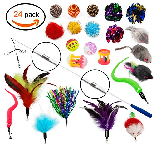 Cat Toys - Cat Feather Toys - 24 pieces, Retractable Cat wand and Natural Feather Refills and other Cat Toys by Ecocity Pet Supply (24 pieces)
